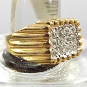 Vintage Blingy Gold Tone Ring, Size 13 or 10 NOS